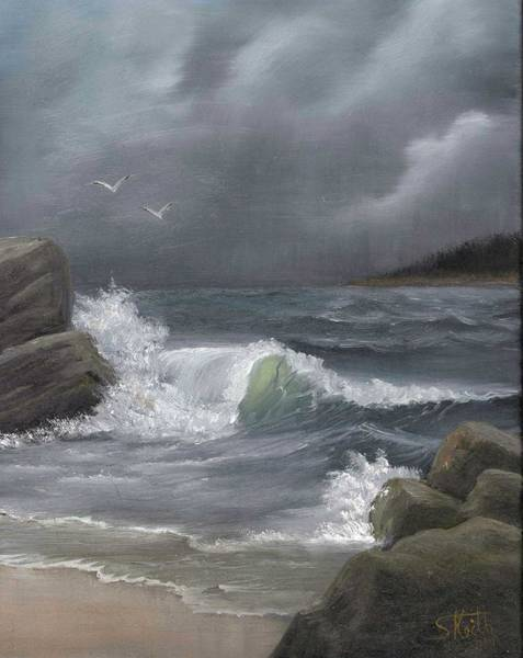 Oceanscape Painting - Stormy Waters by Sheri Keith