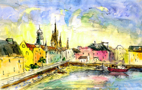 Church Of Scotland Wall Art - Painting - Stornoway On Lewis 01 by Miki De Goodaboom