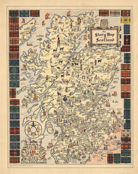 Illustrated Drawing - Story Map Of Scotland - Illustrated Map - Historical Map - Pictorial Map by Studio Grafiikka