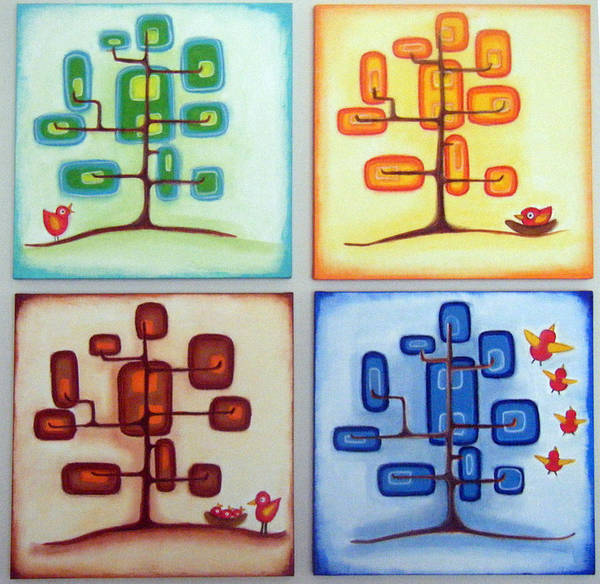 Morea Wall Art - Painting - sTORY oF A bIRD tHRU 4 sEASONS  by Mara Morea