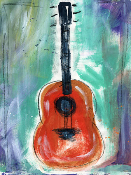 Music Wall Art - Painting - Storyteller's Guitar by Linda Woods