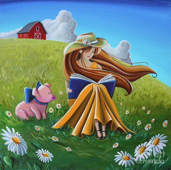 Wall Art - Painting - Storytime On The Farm by Cindy Thornton