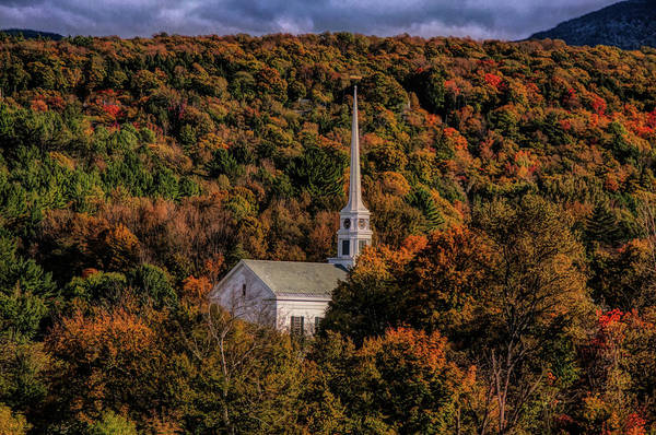 Autumn In New England Photograph - Stowe Church In Fall Colors by Jeff Folger