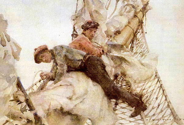 Painting - Stowing The Headsails  by Henry Scott Tuke