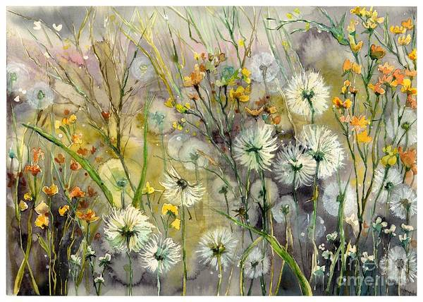 Field Of Flowers Wall Art - Painting - Straight To The Hills by Suzann's Art