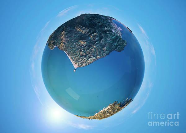 Little Planet Digital Art - Strait Of Gibraltar 3d Little Planet 360-degree Sphere Panorama by Frank Ramspott