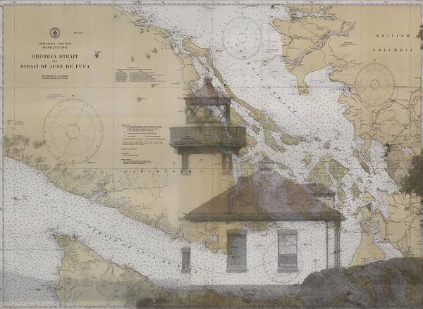 Port Of Vancouver Wall Art - Mixed Media - Strait Of Juan De Fuca Nautical Chart Lighthouse by Dan Sproul