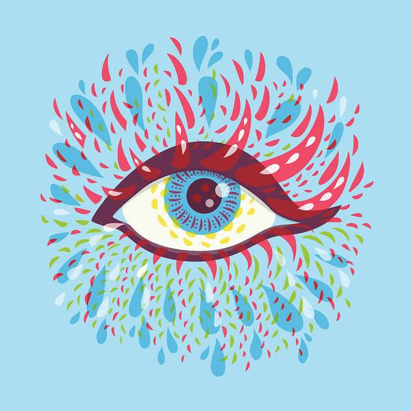 Eyeball Digital Art - Strange Blue Psychedelic Eye by Boriana Giormova