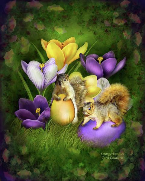 Egg Mixed Media - Strange Bunnies by Carol Cavalaris