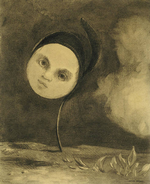 Crayon Drawing - Strange Flower  Little Sister Of The Poor by Odilon Redon