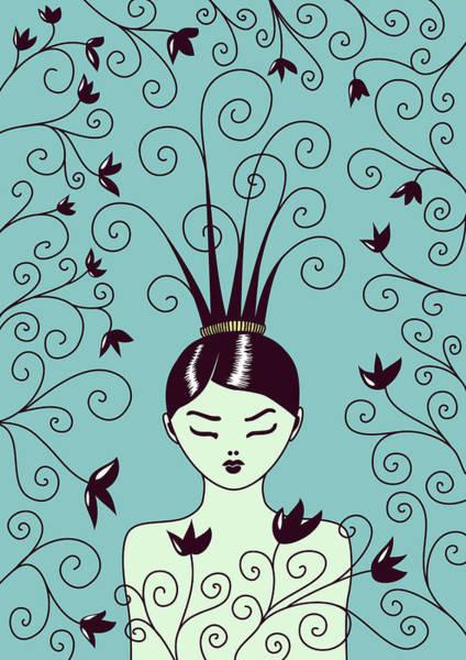 Hairdo Digital Art - Strange Hairstyle And Flowery Swirls by Boriana Giormova