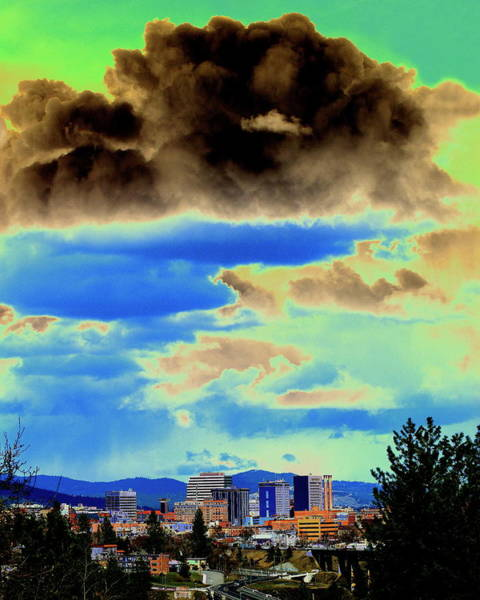 Spokane Digital Art - Strange Spokane Storm by Ben Upham III