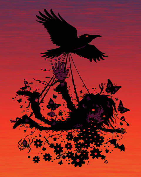Raven Digital Art - Strange Trip Through The Sky by John Schwegel