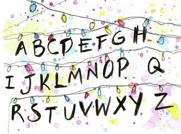 Wall Art - Painting - Stranger Things Alphabet Wall Christmas Lights by Olga Shvartsur
