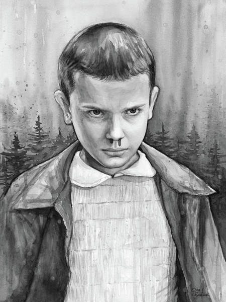 Wall Art - Painting - Stranger Things Fan Art Eleven by Olga Shvartsur
