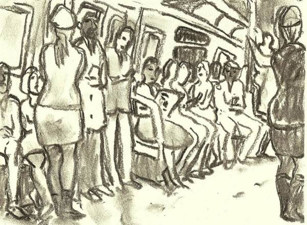 Drawing - Strap Hangers, Nyc Subway by Thor Wickstrom