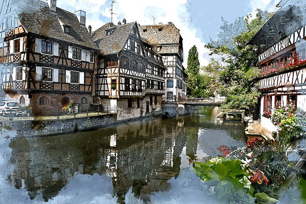 River Ill Wall Art - Painting - Strasbourg France  by Elaine Plesser