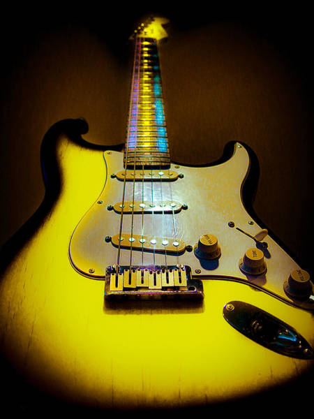 Digital Art - Stratocaster Lemon Burst Glow Neck Series by Guitar Wacky