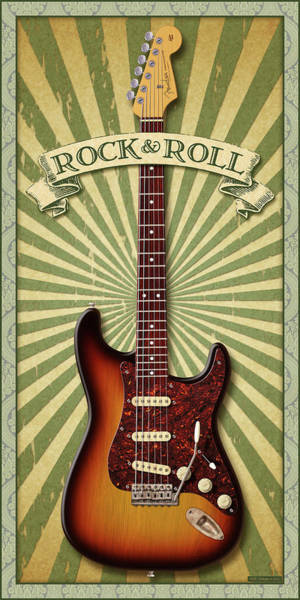 Wall Art - Digital Art - Stratocaster Rock And Roll by WB Johnston