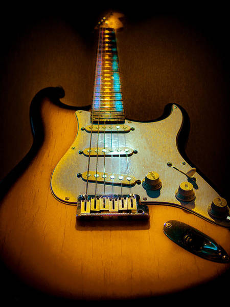 Digital Art - Stratocaster Tobacco Burst Glow Neck Series  by Guitar Wacky