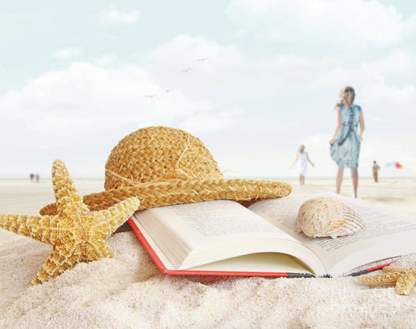 Wall Art - Photograph - Straw Hat  Book And Seashells In The Sand by Sandra Cunningham