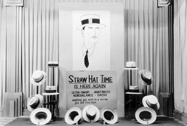 Mccormick Wall Art - Photograph - Straw Hat Day Display by Underwood Archives