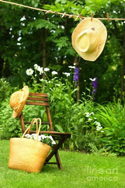 Straw Hat Hanging On Clothesline Art Print