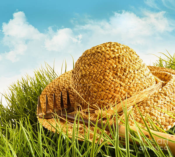 Wall Art - Photograph - Straw Hat On Grass With Blue Sky  by Sandra Cunningham