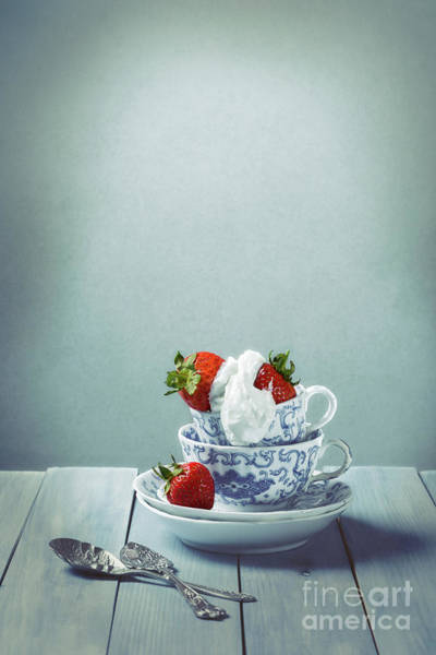 Wall Art - Photograph - Strawberries And Cream by Amanda Elwell
