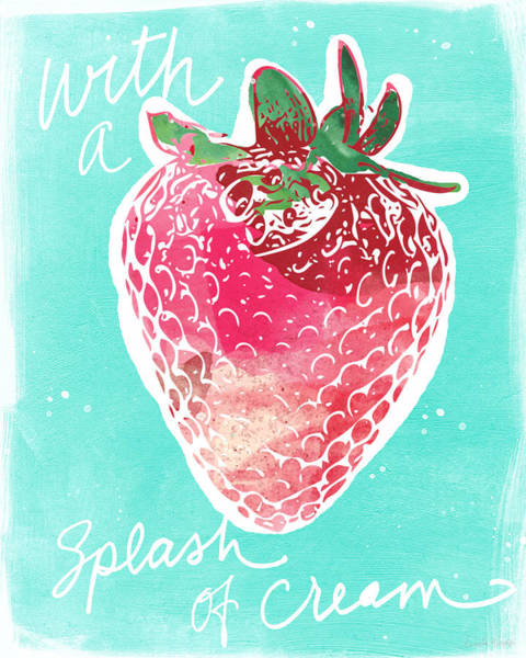 Fruit Painting - Strawberries And Cream by Linda Woods