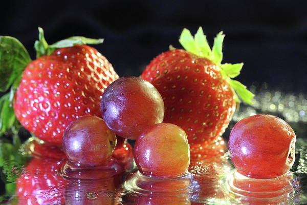 Photograph - Strawberries And Grapes by Angela Murdock