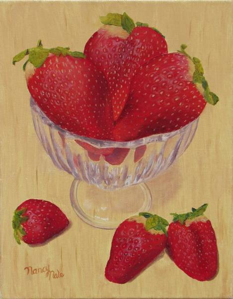 Painting - Strawberries In Crystal Dish by Nancy Nale