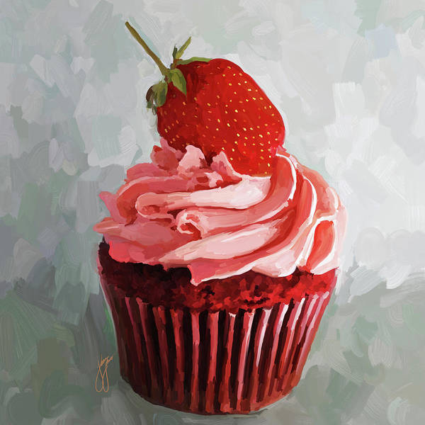 Icing Painting - Strawberry Cupcake by Jai Johnson