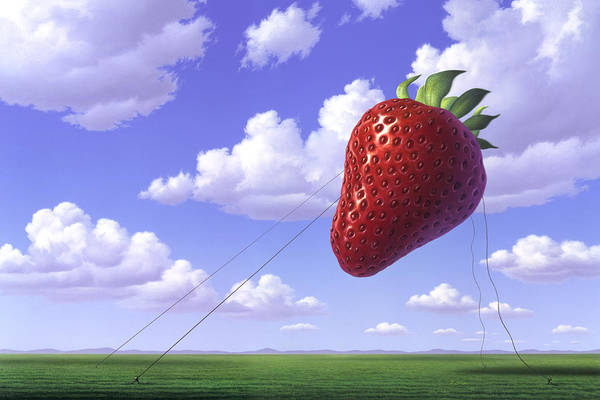 Floating Wall Art - Painting - Strawberry Field by Jerry LoFaro