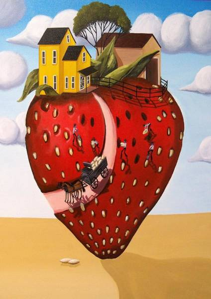 Strawberry Hills Wall Art - Painting - Strawberry Fields - Surreal Farm Landscape by Debbie Criswell