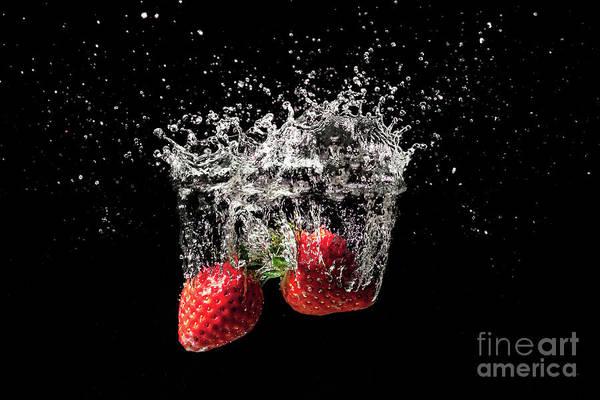 Wall Art - Photograph - Strawberry Fruit Big Splash Into Water by Simon Bratt Photography LRPS