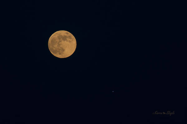 Photograph - Strawberry Moon And Saturn June 27, 2018 by Karen Slagle