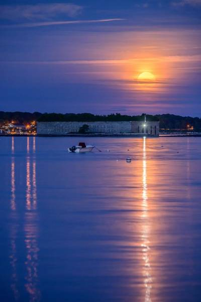 Wall Art - Photograph - Strawberry Moon Over Fort Gorges II by Tim Sullivan