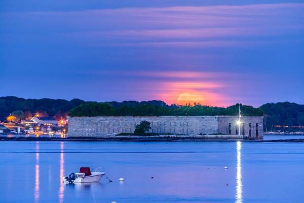 Casco Bay Photograph - Strawberry Moon Over Fort Gorges by Tim Sullivan