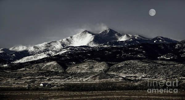 Photograph - Strawberry Moon Over Longs Peak by Jon Burch Photography