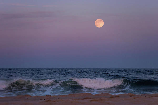 Photograph - Strawberry Moon Over Ocean Lavallette Nj June 2016 by Terry DeLuco