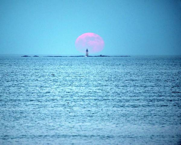 Photograph - Strawberry Moon Over The Graves Lighthouse Boston Ma Revere Beach Red Moon Behind The Lighthouse by Toby McGuire