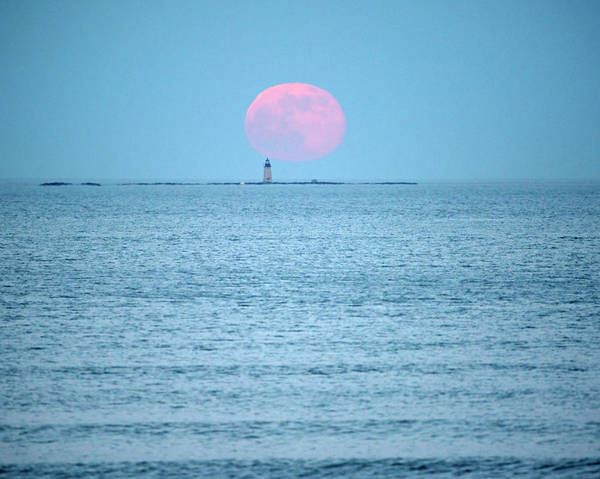 Photograph - Strawberry Moon Over The Graves Lighthouse Boston Ma Revere Beach Red by Toby McGuire