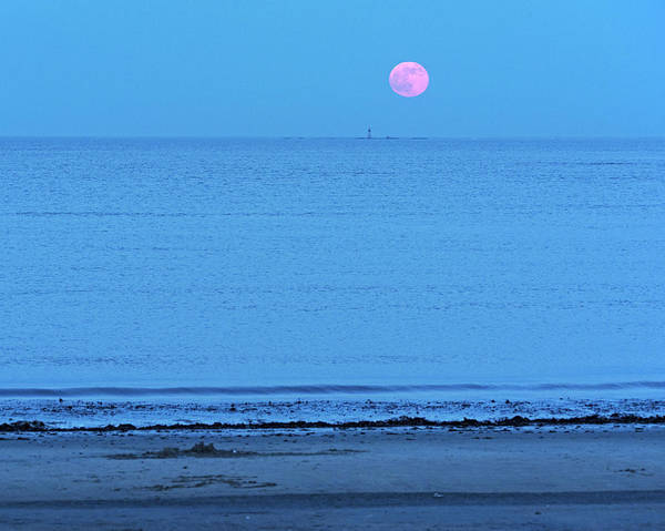 Photograph - Strawberry Moon Over The Graves Lighthouse Boston Ma Revere Beach by Toby McGuire