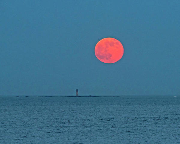 Photograph - Strawberry Moon Over The Graves Lighthouse Boston Ma by Toby McGuire
