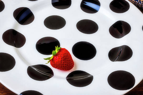 Wall Art - Photograph - Strawberry On Spotted Plate by Garry Gay