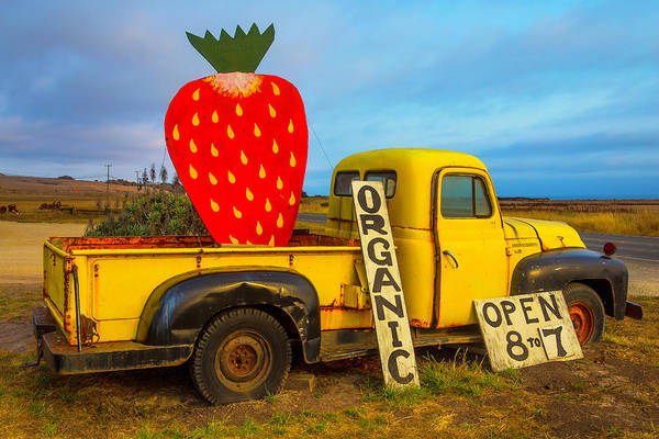 Strawberry Fields Wall Art - Photograph - Strawberry Sign In Pickup Truck by Garry Gay