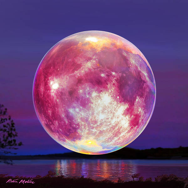 Wall Art - Painting - Strawberry Solstice Moon by Robin Moline