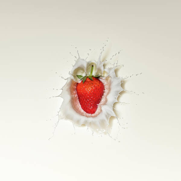 Splash Photograph - Strawberry Splash In Milk by Johan Swanepoel