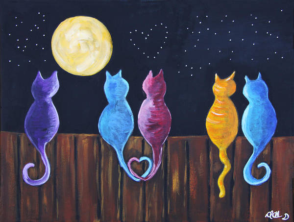 Painting - Stray Cats In Moonlight by Diana Haronis